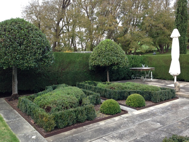 Buxus parterre and pruned bay trees at the rear of the house