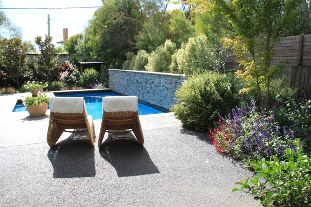 Colourful garden pool surrounds