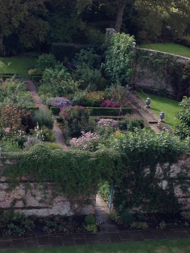 The Rose Garden, seen from the top of the tower, is divided into geometric shapes