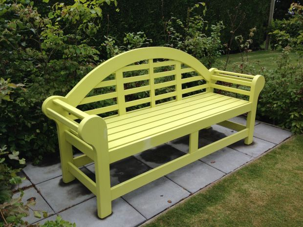 Lime coloured bench at Gravetye Garden