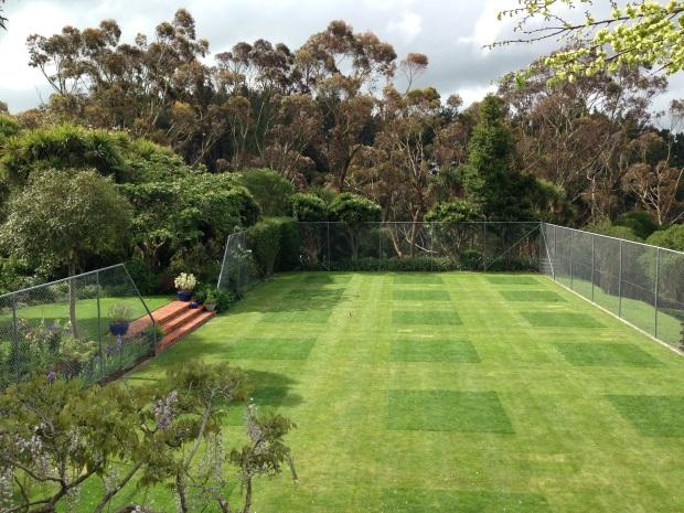 Tennis court and eucalptus at Puketarata