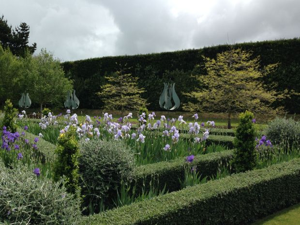 Tulip Sculptures and Irises at Gravetye Garden