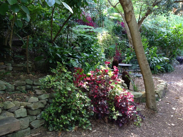 Dry stone walls and seating nooks at Wendy's Secret Garden