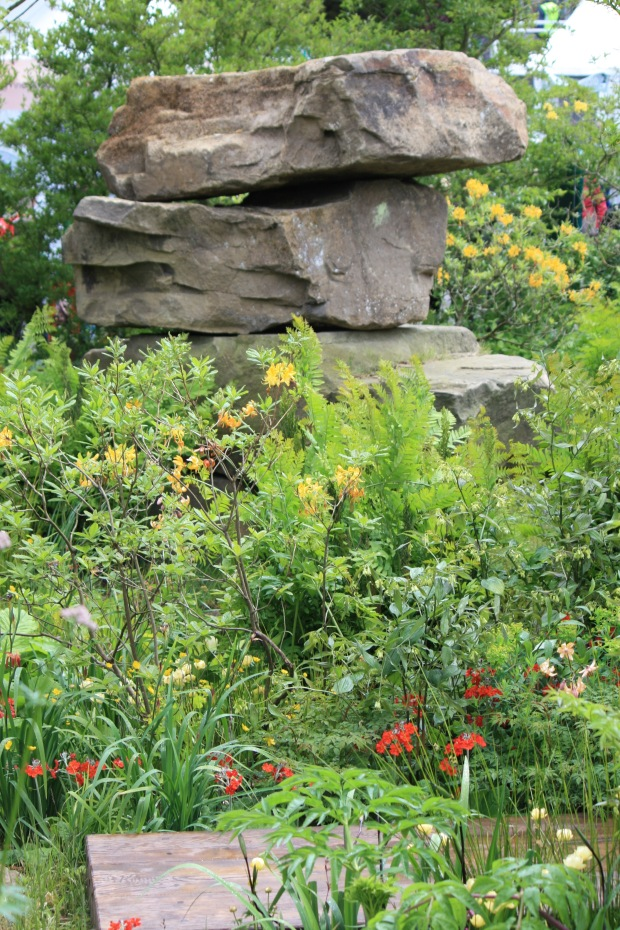 Naturalistic rock work and planting at Dan Pearson's Chatsworth garden