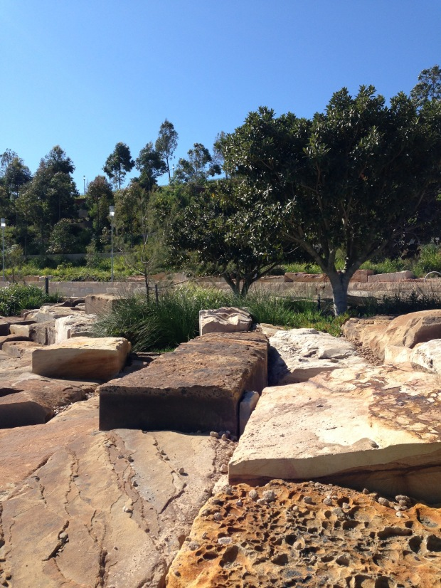 Natural sandstone colours and textures at Barangaroo Reserve