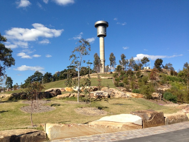 The old control tower at Barangaroo Reserve