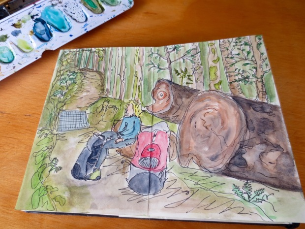 Our exceptionally talented Carma just knocked this up as we stopped for a water break (it's me!). Watercolour: Carma Jackson