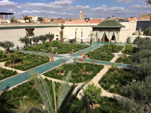 A bird's eye view of the Islamic garden from one of the terraces