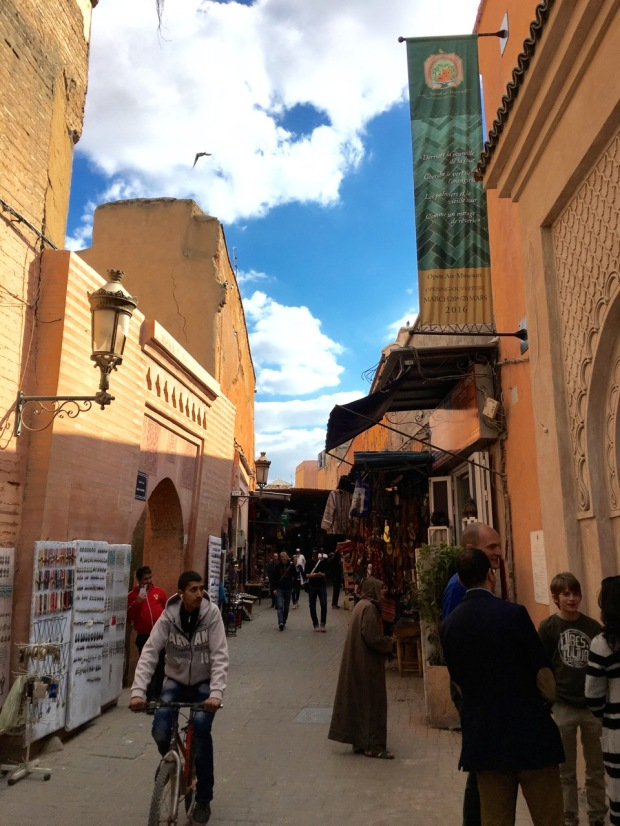 One of the wider streets in the Medina, where Le Jardin Secret begins