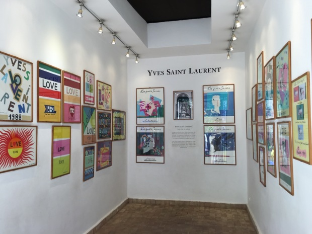 Yves Saint Laurent's Love Gallery, displaying collages he had produced for New Year cards sent to his friends