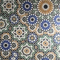 Mosaic floor tiling
