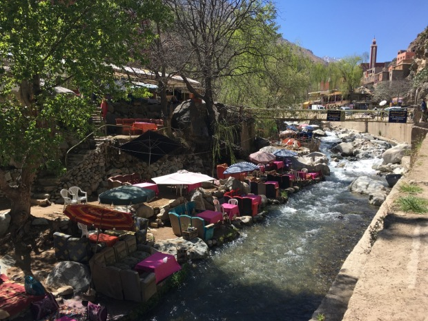 These colourful restaurants by the river at the foot of the Atlas Mountains were quite extraordinary!