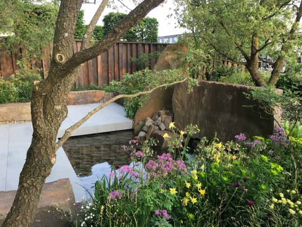 A tranquil pool adds to the atmosphere in Cleve West's garden
