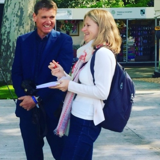 Interviewing Andy Sturgeon. Clearly something was funny. Amazingly, my sister (who lives in Dubai), has a friend (who lives in Hong Kong), whose friend posted this photo on Instagram and recognised me!