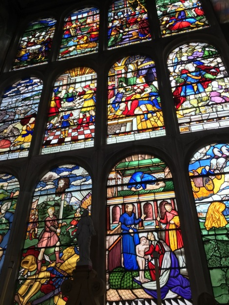 Stained glass window at Hatfield House