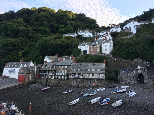 Looking back at the village from Clovelly harbour wall