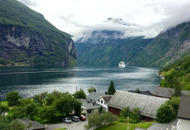 The view from our room at Geiranger, another UNESCO site. We weren't the only ones there that day!