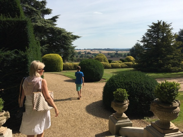My sister and nephew enjoying the views of the Vale of Aylesbury from Ascott House