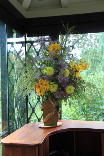 A beautiful arrangement of flowers from the cutting garden at reception