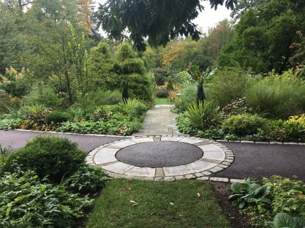 I love the detail of this circular paving, looking down to the Tennis Court Garden at Chanticleer