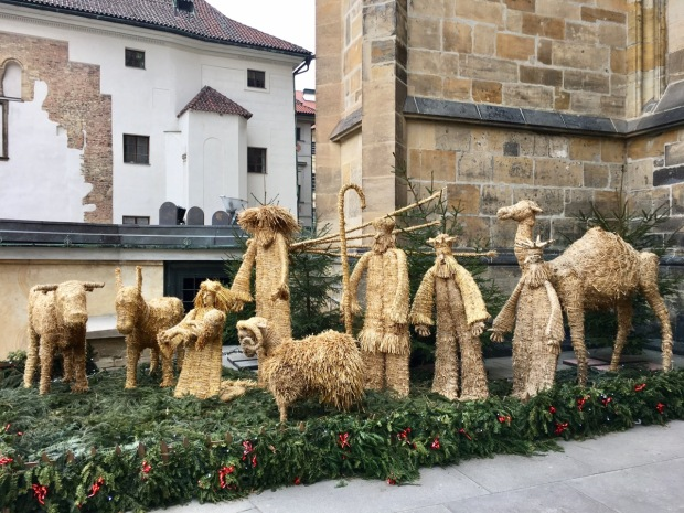 A straw nativity outside St Vitus's Cathedral