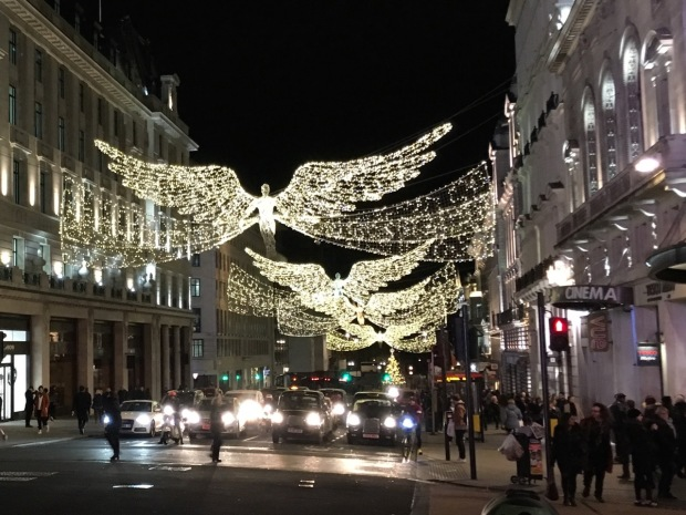 Christmas lights by Piccadilly Circus